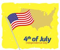 4th July greeting card. Vector illustration of 4th July greeting card Stock Images