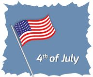 4th July greeting card. Vector illustration of 4th July greeting card Royalty Free Stock Photography