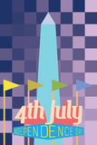 4th July. Greeting Card with Washington monument royalty free illustration
