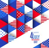 4th of July greeting on a USA patriotic stars and stripes pattern. Greeting card. 4th of July greeting on a USA patriotic stars and stripes pattern. Vector Stock Photos