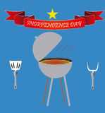 4th of July. A grey grill with a pair of utensils and a ribbon for independence day royalty free illustration