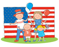 4th of July. Hand drawn picture of American family celebrating the 4th of July. Illustrated in a loose style. Vector eps available Stock Photography