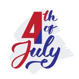 4th of July - hand-writing,  calligraphy, typography, lettering. Vector hand-written text on grey paint Stock Image