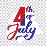 4th of July - hand-writing,  calligraphy, typography, lettering. Vector hand-written text on white paint Royalty Free Stock Image