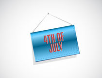 4th of July hanging banner sign concept. Illustration design isolated over white Royalty Free Stock Photos