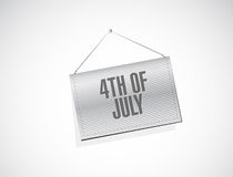 4th of July hanging banner sign concept. Illustration design isolated over white Royalty Free Stock Photo