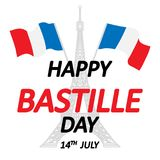 Happy Bastille Day!. 14 th of July. Happy Bastille Day. Creative Vector illustration, card, banner or poster for the French National Day. Vector illustration royalty free illustration