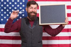 4th of july. Happy hours. American style. American barber hair stylist or hairdresser american flag background. Man with. Beard and mustache with american flag stock images