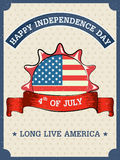 4th of July Happy Independence Day America background. In vector Stock Photo