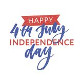 4th of July. Happy Independence day calligraphy. 4th of July. Happy Independence day vector holiday lettering calligraphy royalty free illustration