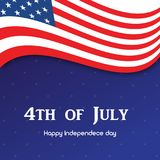 4th July. Happy Independence day greeting card. Vector.  Stock Photography