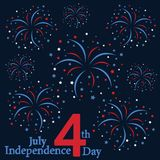 4th July. Happy independence day. Happy Independence Day United states of America. 4th of July. Fireworks flat design. Vector illustration Stock Illustration