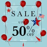 4 th of July. Happy independence day Sale Coupon, voucher, tag. Stock Image