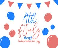 4th July, happy independence day in United States of America, US. A. Festive Vector illustration design background royalty free illustration