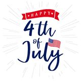 4th of July, Happy Independence Day of USA lettering and light beams design. Happy Independence Day United States of America vector calligraphic background Royalty Free Stock Image