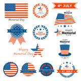 4th July Happy Memorial Day badges and labels. Eps 10 stock illustration