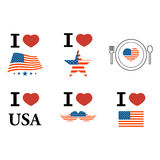 4th July Happy Memorial Day badges and labels. Vector eps 10 vector illustration