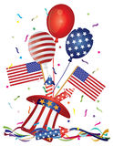 4th July Hat Balloons American Flag Firecrackers and Confetti vector Il. 4th of July Stars and Stripes Balloons hat firecrackers American Flag vector stock illustration