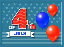 4th of July Holiday Banner Vector Illustration. USA national Independence day, holidays poster on American flag, blue red colorful balloons and fest date royalty free illustration