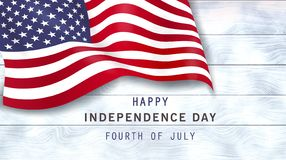 4th of july holiday banner on white wooden background. royalty free illustration