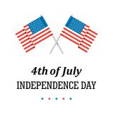 4th of July holiday card with two American Flags and stars. Flat vector patriotic illustration. Fourth of July the Independence Day patriotic flat vector royalty free illustration