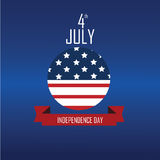 4th July Icon. On blue background stock illustration
