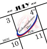 2017 4th of july icon. 2017 4th of july calendar icon shows that it will be a long holiday weekend with the 4th following on a tuesday stock illustration