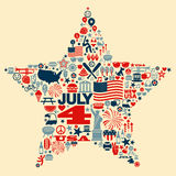 4th of July icon symbols collage illustration T-sh. N4th of July icon set within a star shape n stock illustration