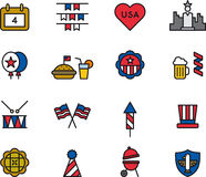 4th of July icons. Set of colored icons relating to the 4th of July holiday celebration Stock Photography