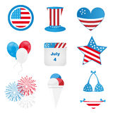 4th of july icons. Set of nine icons for 4th of july or Independence day, isolated on white background. EPS file available stock illustration