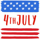 4th of July illustration. American flag in grunge style. Hand drawn lettering Royalty Free Stock Photography