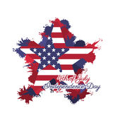 4th of July. Illustration of American Independence Day of 4th July with stars on grungy flag vector illustration