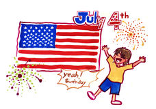 4th of july illustration. 4th of july chinese immigrant celebration illustration Stock Image