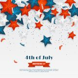 4th of July - Independence day of America. American holiday background. 3d stars in national colors with serpentine and. Confetti. Vector illustration Royalty Free Stock Photo