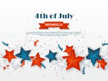 4th of July - Independence day of America. American holiday background. 3d stars in national colors with serpentine and. Confetti. Vector illustration Royalty Free Stock Photos