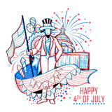 4th of July Independence Day of America background. Illustration of Sketchy hand drawn American Flag Background for Fourth of July, Independence Day of America stock illustration