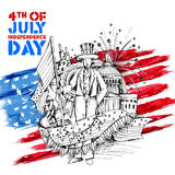 4th of July Independence Day of America background. Illustration of Sketchy hand drawn American Flag Background for Fourth of July, Independence Day of America vector illustration