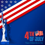 4th of July Independence Day of America background. Illustration of Statue of Liberty on American flag for 4th of July Independence Day of America background stock illustration