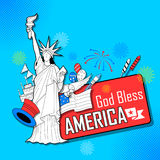 4th of July Independence Day of America background. Illustration of Statue of Liberty on American flag background for Fourth of July, Independence Day of America royalty free illustration