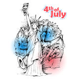 4th of July Independence Day of America background. Illustration of Statue of Liberty on American flag background for Fourth of July, Independence Day of America stock illustration