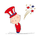 4th of July Independence day. American boy in hat with blue and red horizontal stripes and 4th of July fireworks - original hand drawn illustration Royalty Free Stock Photo
