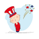 4th of July Independence day. American boy in hat with blue and red horizontal stripes and 4th of July fireworks - original hand drawn illustration Stock Photo