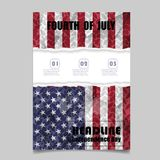4th July Independence day background design. National day USA ho. Liday banner poster greeting card. Stars and stripes american flag.Book Cover Layout Design stock illustration