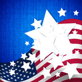 4th July Independence day background. Stars and stripes of the American flag on a blue background royalty free illustration