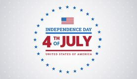 4th of July Independence Day background with United States flag. Fourth of July Independence Day typographic design - july 4th greeting card vector badge Royalty Free Stock Photos