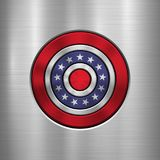 4th of July Independence Day Badge. Circle button template with metal texture, chrome, silver, steel and realistic reflex for logo, design concepts, interfaces Royalty Free Stock Images