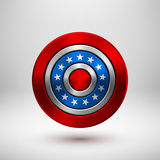 4th of July Independence Day Badge. Circle button template with metal texture, chrome, silver, steel and realistic shadow for logo, design concepts, interfaces Stock Image