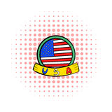 4th of July Independence Day badge icon. In comics style on a white background stock illustration