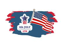 4th July Independence Day Vector Illustration. 4th July Independence day banner with date of year 1776 holiday and flag pole, poster brush stroke, vector Stock Illustration