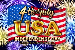 4th of July, Independence Day Banner on navy star pattern background, Vector illustration. Inscription 4 july independence day on usa flag. gold balloon vector Stock Illustration